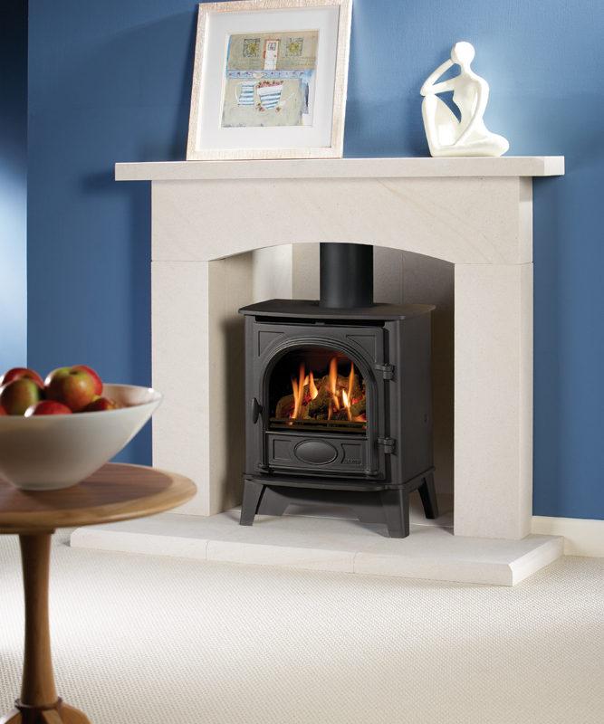 Stockton 5 - Limestone Fireplace