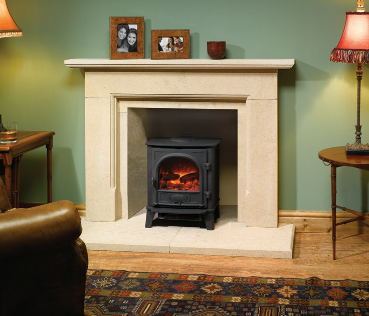 Stockton 5 (Electric) - English Stone Fireplace