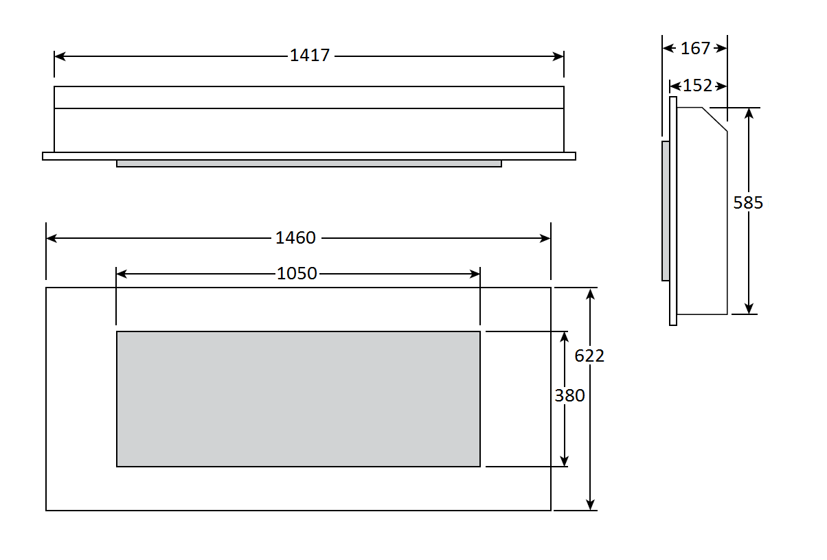 Studio Inset 1050 - Dimension Guide